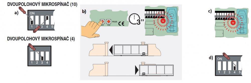 Programování zpomalení pohonu brány BX 74-78