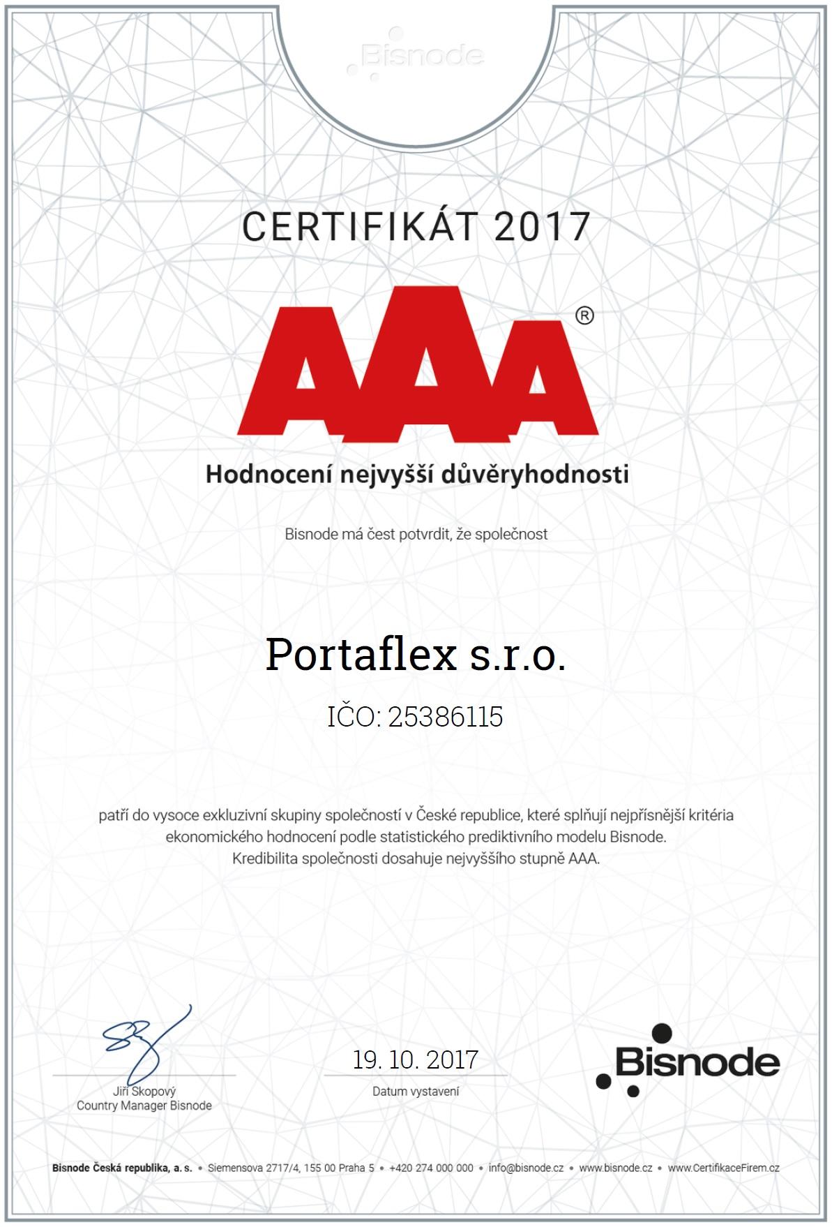 Certifikát platební morálky Portaflex s.r.o.